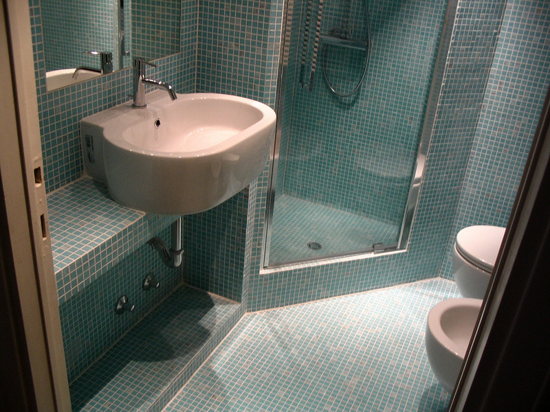 Image: Piano appoggio lavabo in mosaico